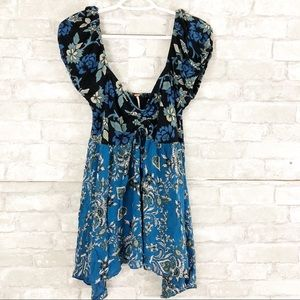 Free People Blue Green Floral Print Blouse